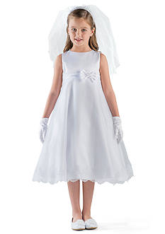 Us Angels Satin And Organza Sleeveless A-Line Communion Dress With Lace Trim- Girls 7-16