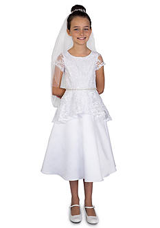 Us Angels Lace And Satin Cap Sleeve A-Line Dress Bodice & Peplum Dress With Beaded Waist- Girls 7-16