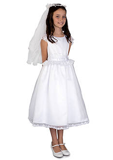 Us Angels Satin And Organza Lace Cap Sleeve Communion Dress With Lace Inset Waist And Full Skirt- Girls 7-16