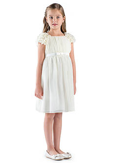 Us Angels Flower Girl Cap Petal Sleeve Empire Dress With Satin Bow- Girls 7-16