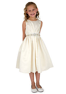Us Angels Flower Girl Ballerina Length Sleeveless Satin Dress With Pleated Bead Waist- Girls 7-16