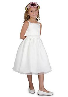 Us Angels Flower Girl Ballerina Length Sleeveless Satin Popover Bodice With Beaded Waist And Full Skirt- Girls 7-16