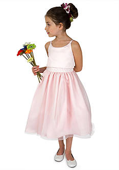 Us Angels Flower Girl Ballerina Length Sleeveless Satin Popover Bodice With Beaded Waist And Full Skirt- Girls 7-16