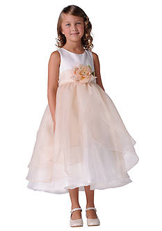 Us Angels Flower Girl Satin And Tulle Layer Organza Tank Dress- Girls 7-16