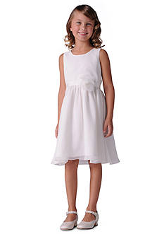 Us Angels Flower Girl Crinkle Chiffon Tank Dress With Grosgrain Ribbon Belt And Flower- Girls 7-16