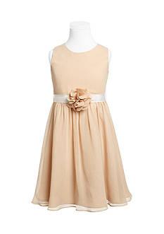 Us Angels Flower Girl Crinkle Chiffon Tank Dress With Grosgrain Ribbon Belt And Flower- Girls 7-16