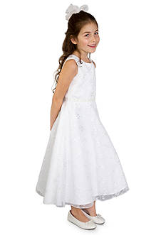 lavender by Us Angels Embroidered Netting Sleeveless A-Line Communion Dress- Girls Plus