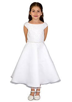 lavender by Us Angels Lace And Organza Cap Sleeve Lace Bodice A-Line Communion Dress With Beaded Waist- Girls 7-16