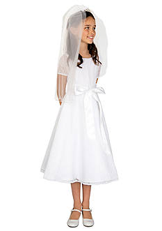 lavender by Us Angels Lace Short Sleeve Communion Dress With Satin Ribbon And Full Skirt- Girls 7-16