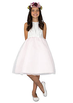 lavender by Us Angels Flower Girl Satin And Organza Sleeveless Pleat Waist With Full Skirt- Girls 7-16