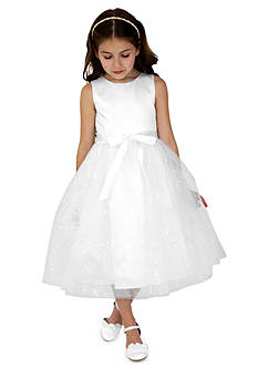 lavender by Us Angels Flower Girl Satin And Sequin Netting Sleeveless Tank With Full Skirt- Girls 7-16