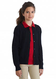 Nautica Uniform Jeweled Cardigan Girls 7-16