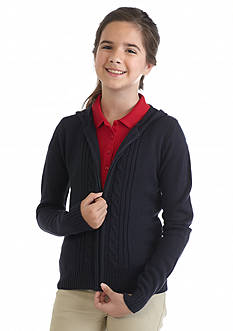 Nautica Uniform Hooded Cardigan Girls 7-16