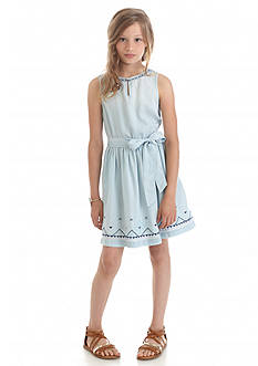 Jessica Simpson Elsa Chambray Embroidered Dress Girls 7-16