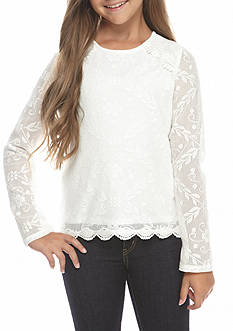 Jessica Simpson Lace Long Sleeve Top Girls 7-16