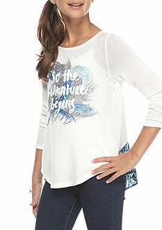 Jessica Simpson Robin Long Sleeve Print High Low Tee Girls 7-16