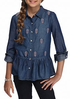 Jessica Simpson Button Front Blouse Girls 7-16
