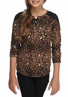 Jessica Simpson Lace Henley Top Girls 7-16