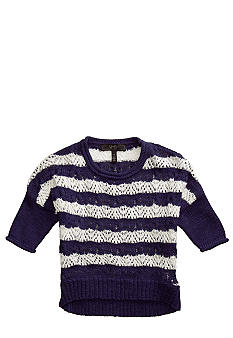 JK Indigo Stripe Hi Low Sweater Girls 4-6X