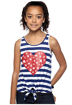Jessica Simpson Stripe Heart Tie Top Girls 7-16
