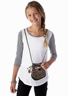 Jessica Simpson Lilli Leopard Purse Tee Girls 7-16