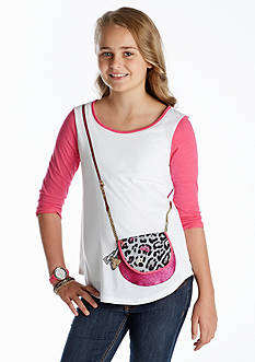Jessica Simpson Lilli Quilted Leopard Purse Tee Girls 7-16