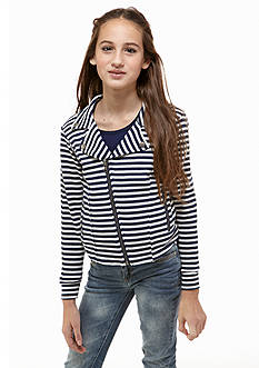 Jessica Simpson Justine Striped Moto Jacket Girls 7-16