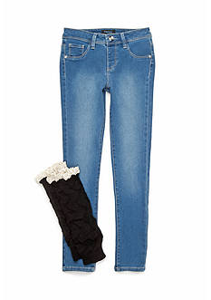 Squeeze Light Wash Black Leg Warmer Jeans Set Girls 7-16