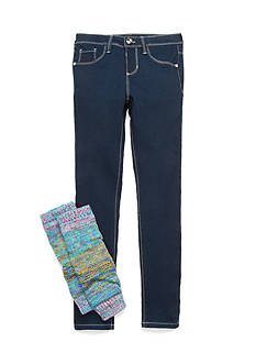 Squeeze Dark Wask Multicolor Leg Warmer Jean Set Girls 7-16