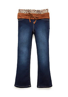 Squeeze Cheetah Suede Knit Waist Jeans Girls 4-6x