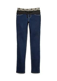 Squeeze Knit Waist Gold Lurex® Dark Wash Jeans Girls 7-16