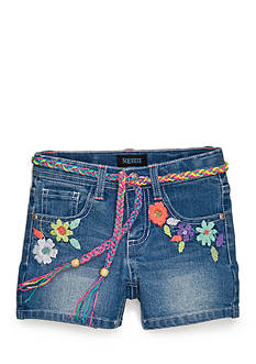 Squeeze Floral Embroidered Shorty Shorts Girls 4-6x