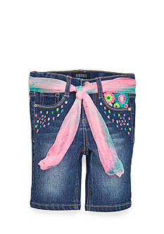 Squeeze Neon Embroidered Floral Bermuda Shorts Girls 4-6x