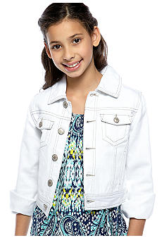Squeeze Button Front Denim Jacket Girls 7-16