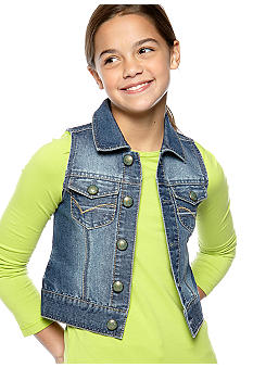 Squeeze Button Front Denim Vest Girls 7-16