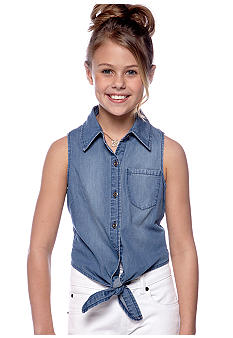 Squeeze Tie Front Denim Shirt Girls 7-16