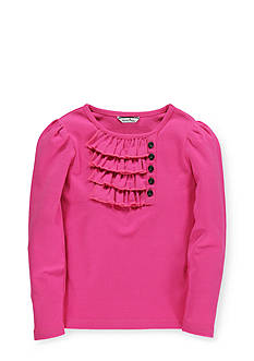 Hartstrings Long Sleeve Ruffle Front Top Girls 7-16