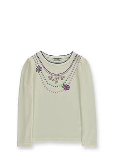 Hartstrings Floral Long Sleeve Necklace Top Girls 7-16