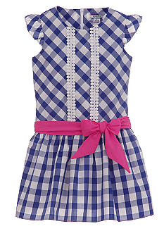 Hartstrings Blue Gingham Dress Girls 7-16