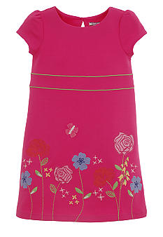 Hartstrings Flower Ponte Dress Girls 4-6X