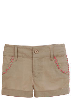 Hartstrings Khaki Linen Short Girls 4-6x