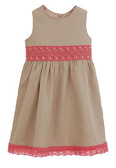 Hartstrings Khaki Pink Trim Dress Girls 7-16