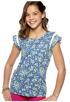 Red Camel Girls Ditsy Floral Ruffle Sleeve Top Girls 7-16