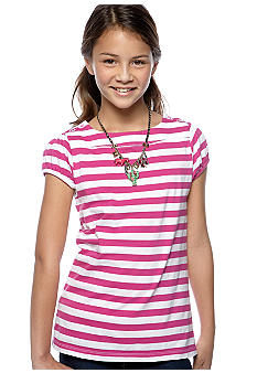Red Camel Girls Stripe Button Shoulder Top Girls 7-16