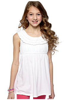Red Camel Girls Ruffle U-Neck Solid Tank Girls 7-16
