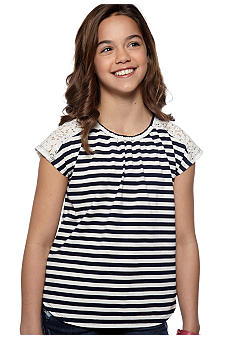 Red Camel Girls Striped Lace Tee Girls 7-16