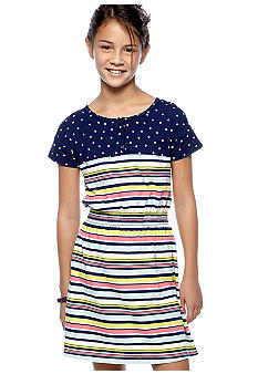 Red Camel Girls Dot Striped Henley Dress