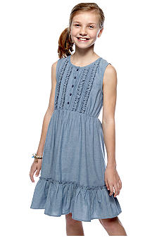 Red Camel Girls Chambray Ruffle Sundress Girls 7-16