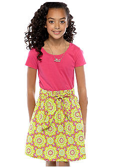 Red Camel Girls Knit & Woven Printed Dress Girls 7-16