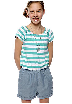 Red Camel Girls Knit Stripe Denim Romper Girls 7-16